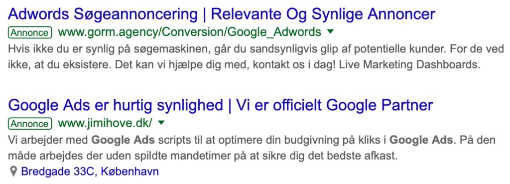 Google Ads-søgning