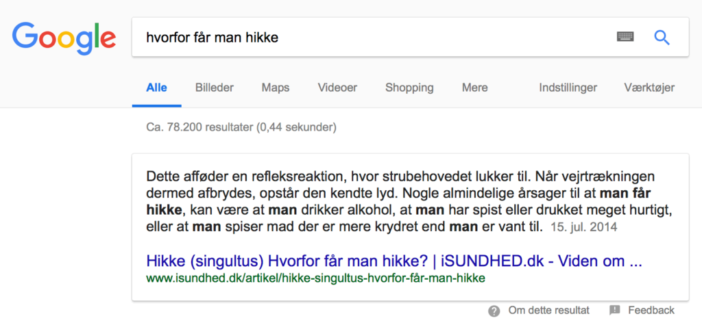 'hvorfor får man hikke' Voice Search Google resultat