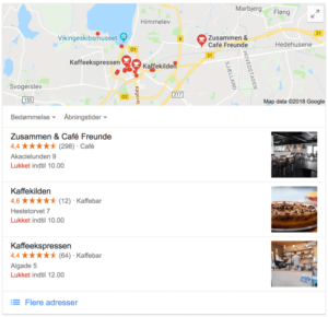 Lokal Voice Search Google-søgning på 'kaffe roskilde' Local 3 Pack