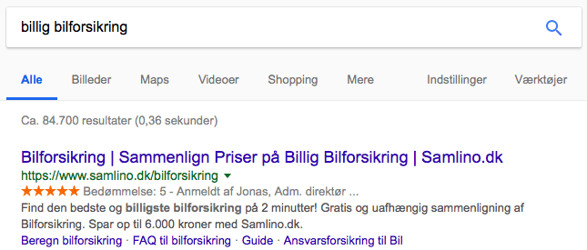 Billig bilforsikring kommerciel search intent