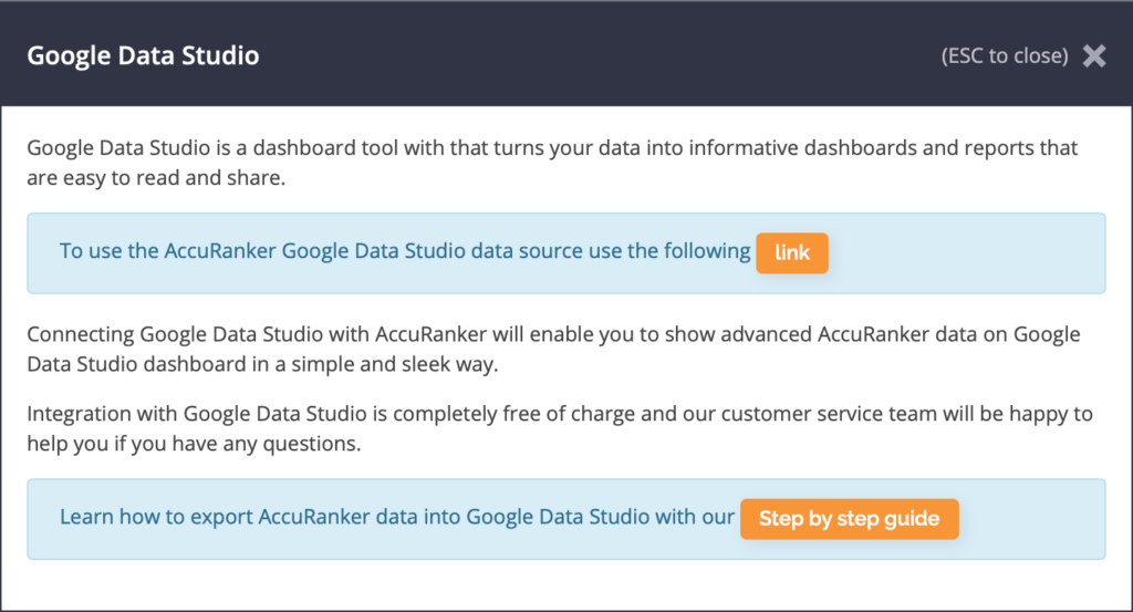 AccuRanker Google Data Studio